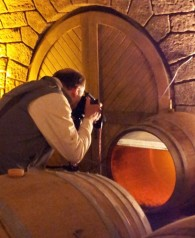 Cellar photos were important too - here shooting the voile in Vin Jaune 2006 at Domaine la Pinte ©Wink Lorch