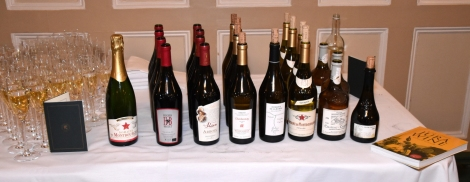 Tasting line-up for Paviors' Jura wine dinner ©Paviors